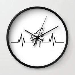 Piano Player Heartbeat Funny Wall Clock