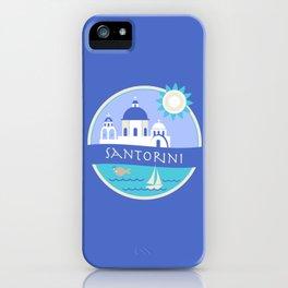 Santorini Greece Badge iPhone Case
