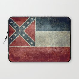 Mississippi State Flag - Distressed version Laptop Sleeve