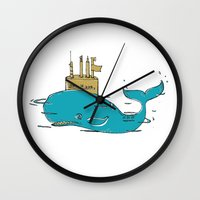 submarine Wall Clocks featuring SUBMARINE by yamini