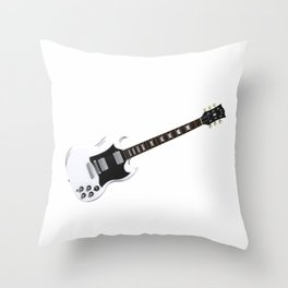 White Electric Guitar Throw Pillow