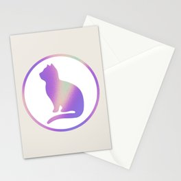 Holographic cat silhouette Stationery Cards