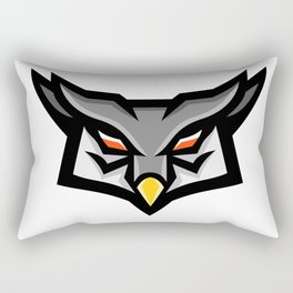 Angry Horned Owl Head Front Mascot Rectangular Pillow