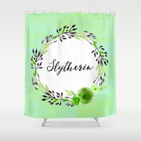 slytherin Shower Curtains featuring HP Slytherin in Watercolor by Snazzy Sisters