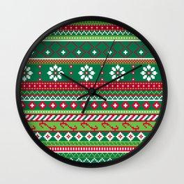 Fair Isle Christmas Pattern Wall Clock