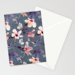 Butterflies and Hibiscus Flowers - a painted pattern Stationery Cards
