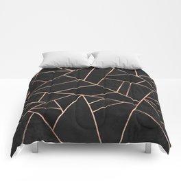 Velvet Black & Rose Gold Comforters