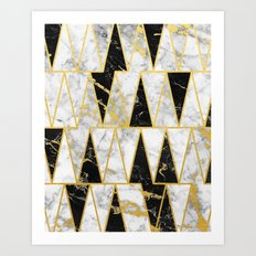 Mixed Marble Triangles // Gold Flecked Black & White Marble Art Print