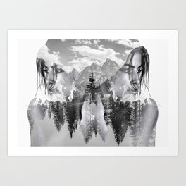 Lady Wild Horse Art Print