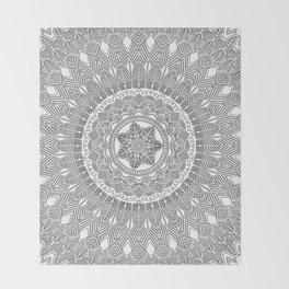Black and White Feather Mandala Boho Hippie Throw Blanket