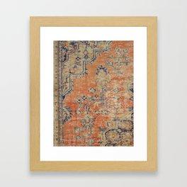 Vintage Woven Navy and Orange Framed Art Print