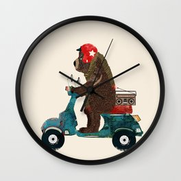 scooter bear Wall Clock