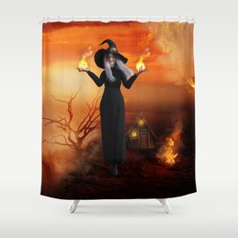 Halloween Witch and Fire Shower Curtain