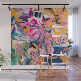 Florales- abstract art pink, orange,blue and teal Wall Mural