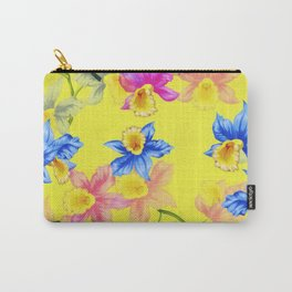 Blooming Yellow Pink Flowers Petals Garden Watercolor Carry-All Pouch