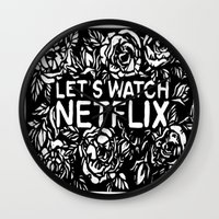 cargline Wall Clocks featuring Lets watch netflix by cargline