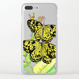 Black & Yellow Butterfly Clear iPhone Case