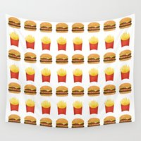 fries Wall Tapestries featuring Burgers and Fries Pattern by A Little Leafy