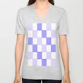 Periwinkle Blue Lavender Checkerboard Unisex V-Neck