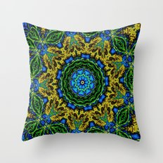 Lovely Healing Mandalas in Brilliant Colors: Hunter Green, Green, Navy, Light Blue, and Goldenrod Throw Pillow