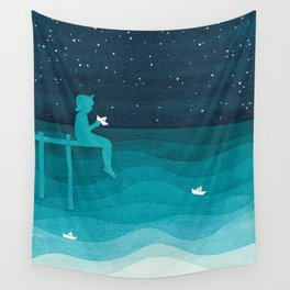 Boy with paper boats, watercolor teal art Wall Tapestry