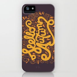 Hello Autumn handwritten lettering (brown) iPhone Case