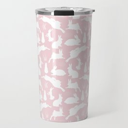 Rabbit Pattern | Rabbit Silhouettes | Bunny Rabbits | Bunnies | Hares | Pink and White | Travel Mug