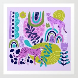 Two Pink Cheetahs Art Print