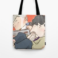 221b Tote Bags featuring 221B by Negative Dragon