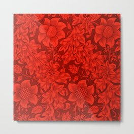 William Morris Mexican Red Sunflower Textile Floral Pattern Metal Print