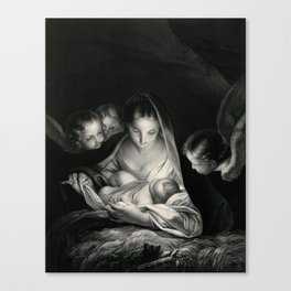 The Nativity, Virgin Mary with Infant Jesus surrounded by Angels Canvas Print