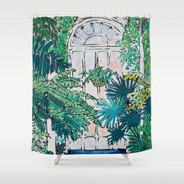 Kew Gardens Sunrise Walkway Greenhouse Jungle Painting London Shower Curtain