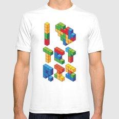 I Heart Tetris MEDIUM White Mens Fitted Tee