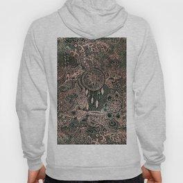 Modern dark green forest watercolor rose gold Christmas dream-catcher floral doodles Hoody