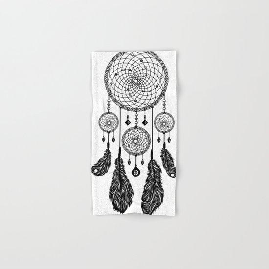Dreamcatcher (Black & White) Hand & Bath Towel