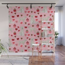Golden Doodle dog breed valentines day art pattern dog gifts for dog lovers hearts and cupcakes Wall Mural