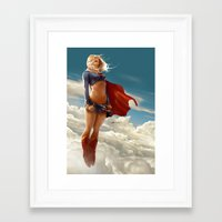 supergirl Framed Art Prints featuring Supergirl by abraaolucas