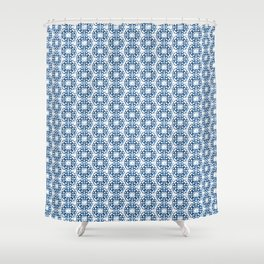 Japanese Geometric Flower Stitching in Blue and White Shower Curtain