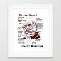 bukowski Framed Art Prints featuring Charles Bukowski by brett66