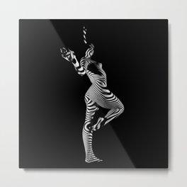0443s-MM Black and White Zebra Striped Art Nude Figure on Black Metal Print