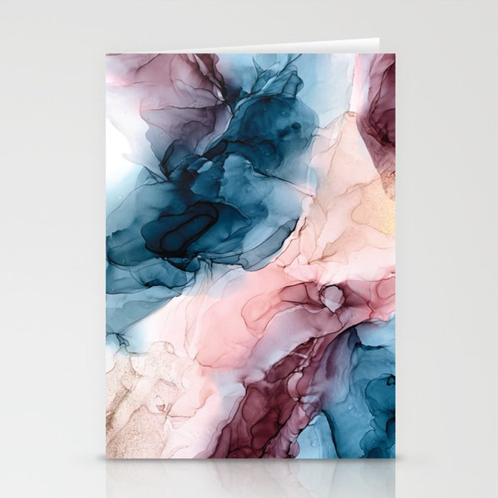 Pastel Plum, Deep Blue, Blush and Gold Abstract Painting Stationery Cards