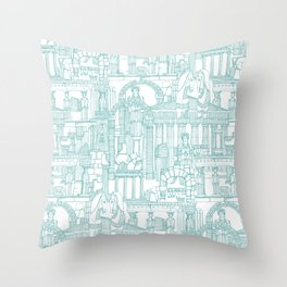 Ancient Greece teal white Throw Pillow