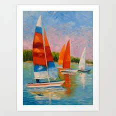 Sailboats on the river Art Print