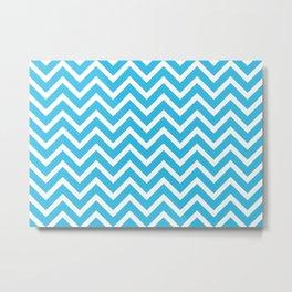 sky blue, white zig zag pattern design Metal Print