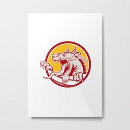 Chinese Red Dragon Head Growling Circle Retro Metal Print
