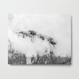 Foggy Ascent // Black and White Snowy Mountain Top Looking at the Trails through the Fog Metal Print