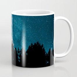 Blue Milky Way At Night Pine Tree Silhouette Stars Night Time Coffee Mug