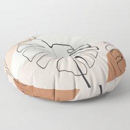 Minimal Abstract Art- Monstera Floor Pillow
