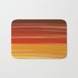 Abstract brown orange yellow sunset brushstrokes Bath Mat