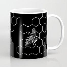 Beehive and Bee Black Coffee Mug